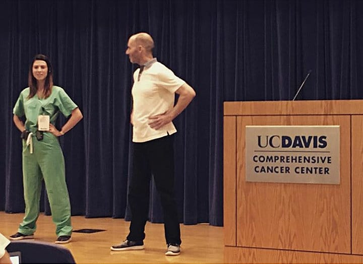 Reid Walley on stage with Resident - UC Davis Chapter Association of Women Surgeons - Photo credit Dr Amanda Kirane - Aug 2 2018