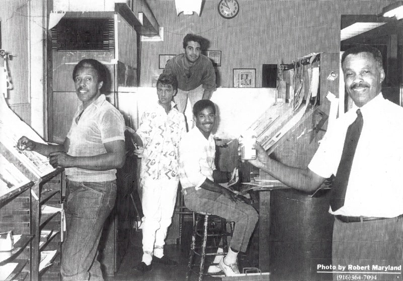 The Sacramento Observer 1984 (L to R) Gene, Michael Toronto, Reid Walley, Billy Lee, Mike